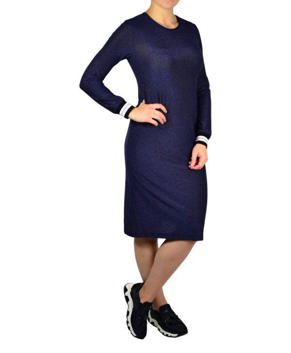 Платье Imperial синее с люрексом рукава резинка в полоску