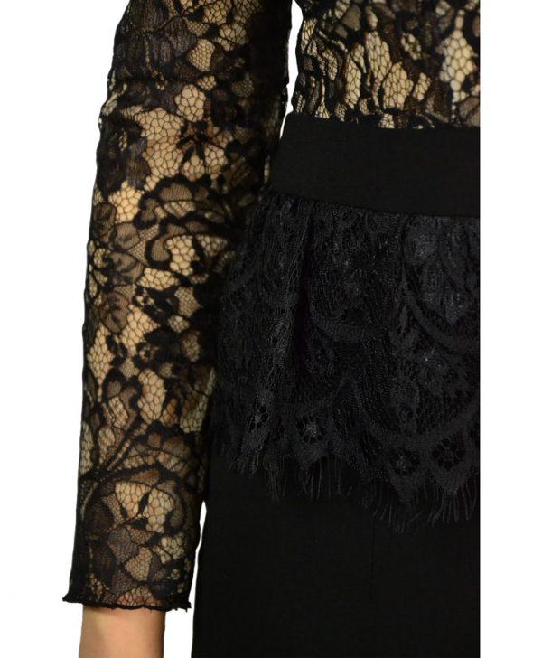 Платье Imperial черное комбинированное гипюром и сеткой