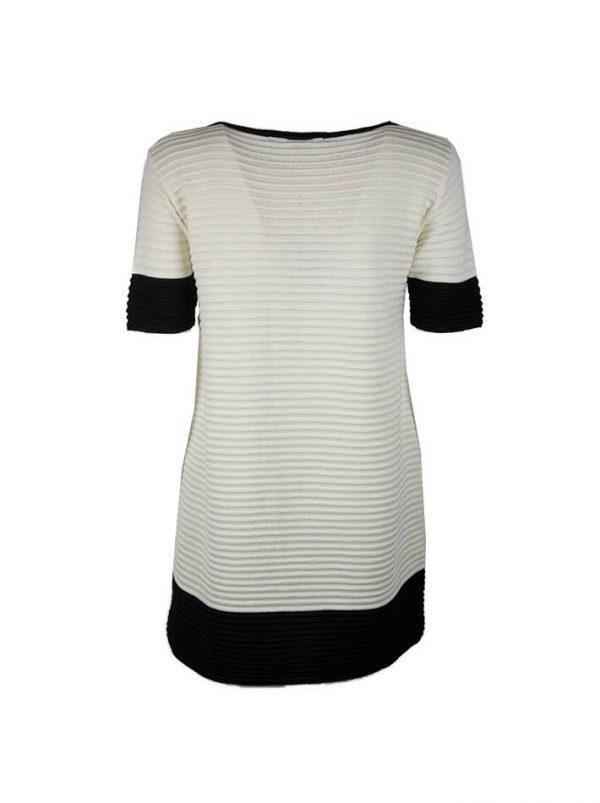 Платье Sandro Ferrone белое с черной отделкой