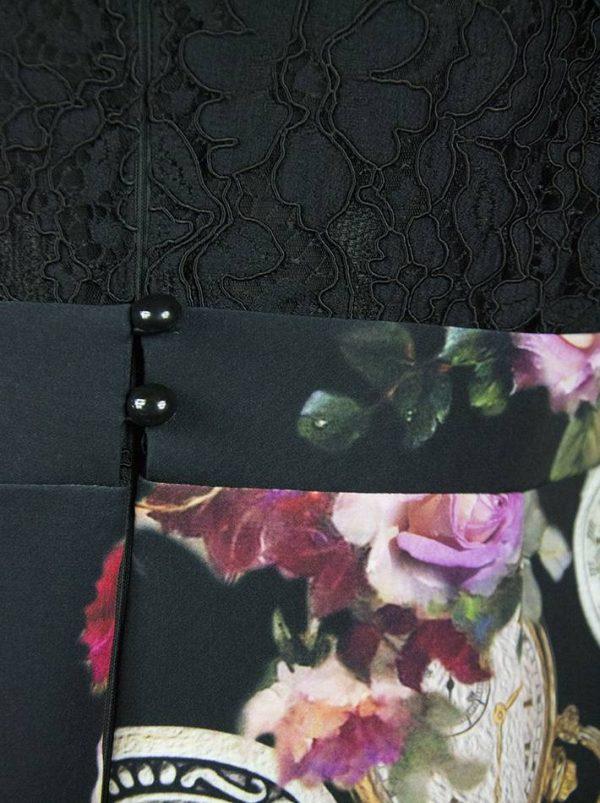 Платье Sandro Ferrone черное комбинированное с гипюром и цветочным принтом