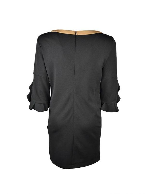 Платье Sandro Ferrone черное с бежевой отделкой