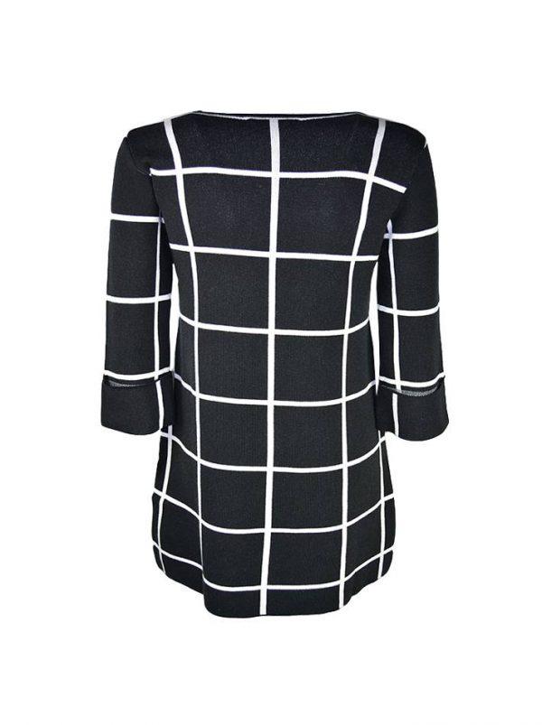 Платье Sandro Ferrone черное трикотажное в белую клетку