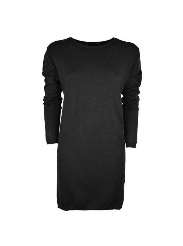 Платье Sandro Ferrone черное трикотажное с длинным рукавом