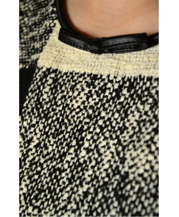 Платье Sandro Ferrone черно-белое в клетку твидовое