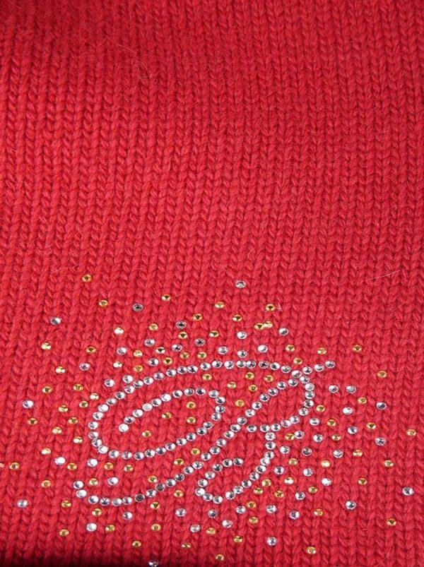 Шапка Blanca красная вязаная с камнями