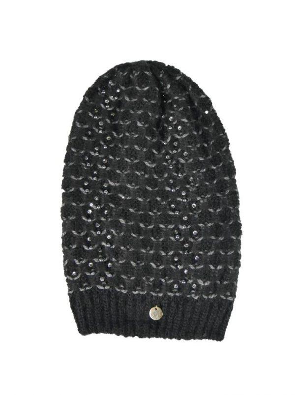Шапка Mondana черная  крупная вязка с камнями и жемчугом