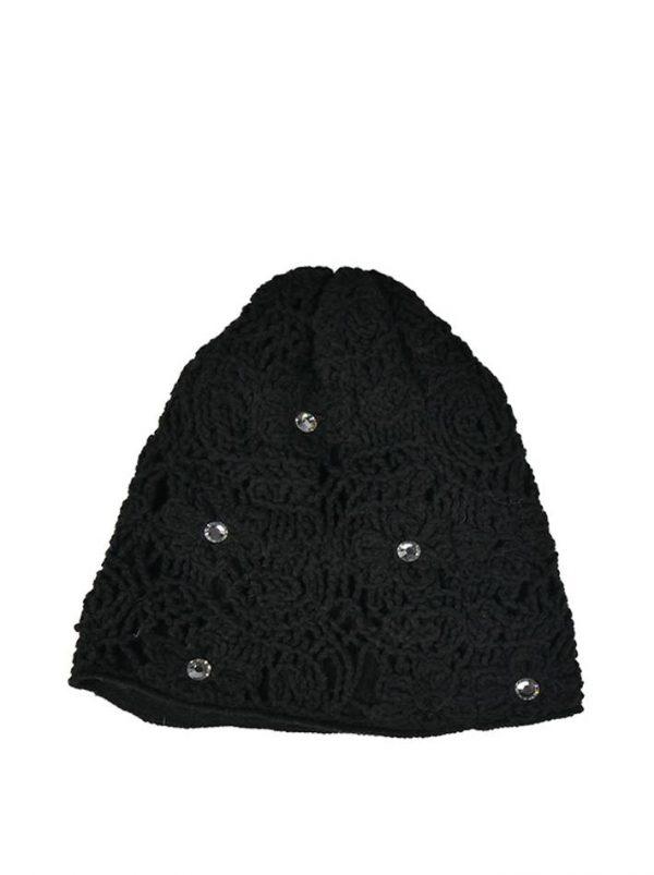 Шапка Mondana черная с кружевной вязкой и камнями