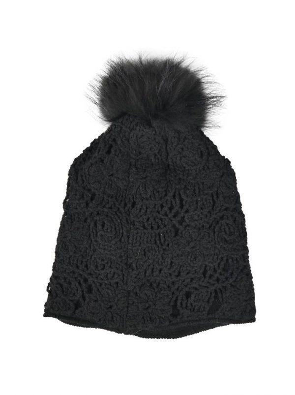 Шапка Mondana черная с кружевной вязкой и меховым бубоном