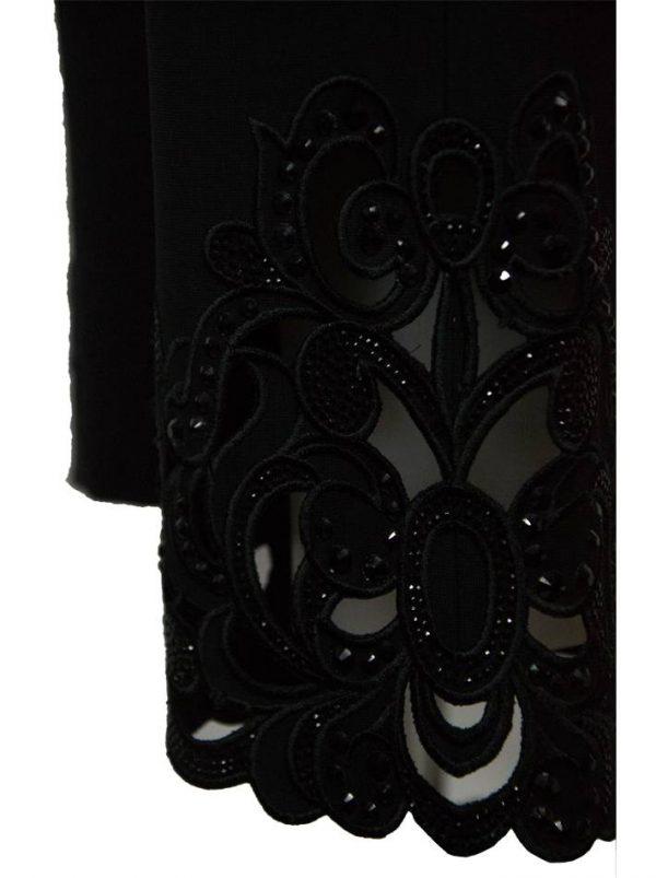 Брюки VDP черные с вышивкой и камнями