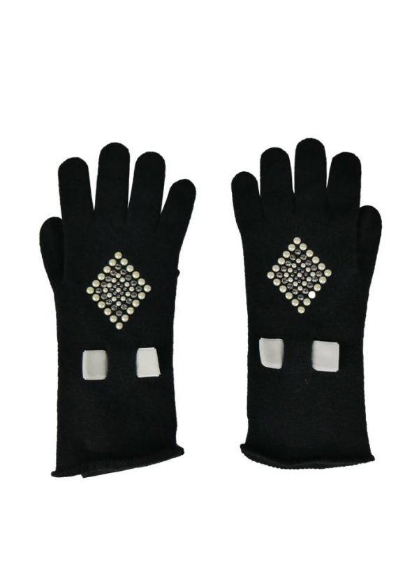 Перчатки Chiara D`Este черные с камнями и жемчугом