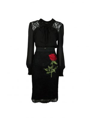 Платье Eureka черное шелк комбинированный с гипюром