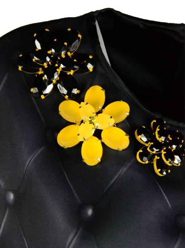 Платье VDP черное с принтом и брошами с камнями