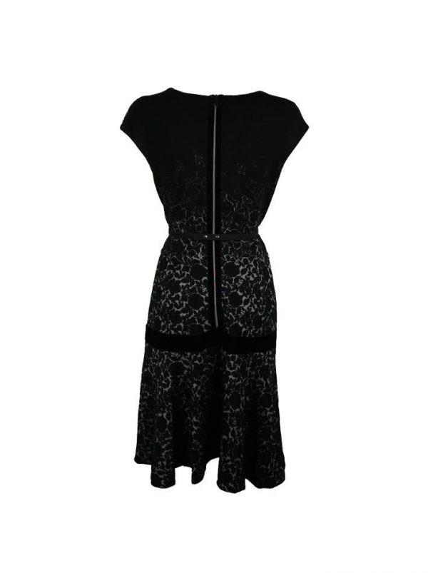Платье VDP черное с цветочным принтом и поясом с камнями