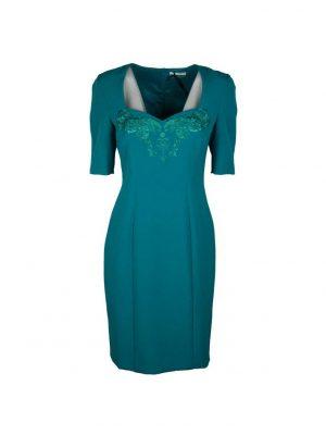 Платье Versace бирюзовое с вышивкой