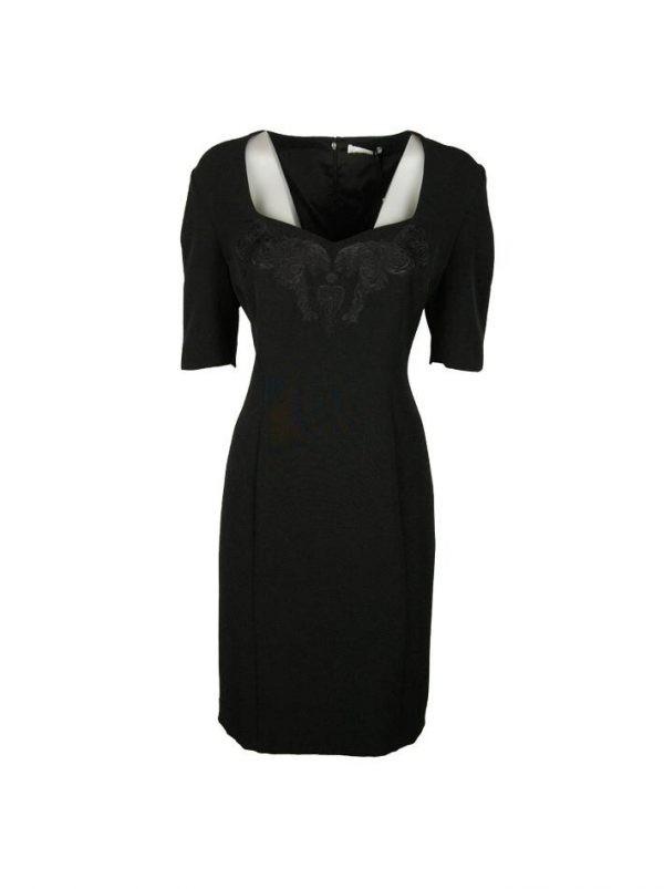 Платье Versace черное с вышивкой