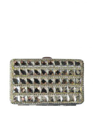 Портсигар Eurobijoux белый кожаный с камнями