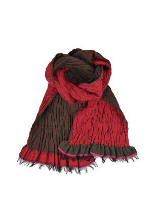 Шарф Didier Parakian красно-коричневый с бахромой