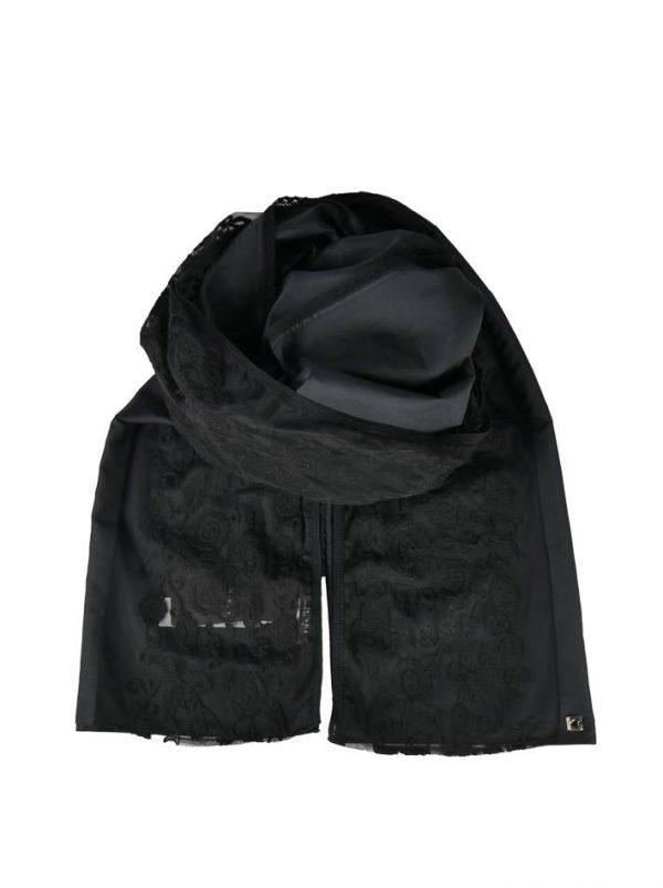 Шарф Twin-Set черный с кружевом и вышивкой