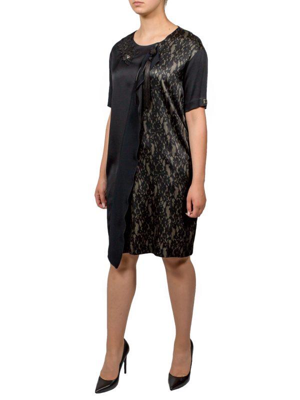 Платье VDP черное с принтом и пайетками