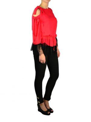 Блузка Mary D'aloia красная комбинированная с черным гипюром