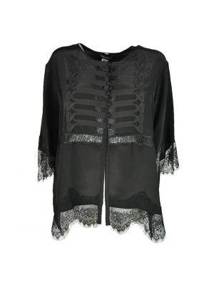 Блузка Twin-Set черная с пуговицами и гипюром