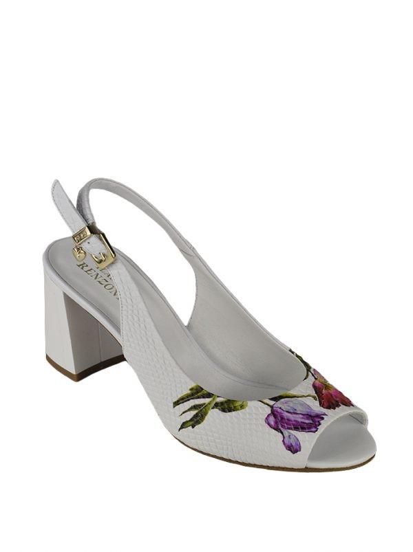 Босоножки Ilasio Renzoni белые с цветочным принтом