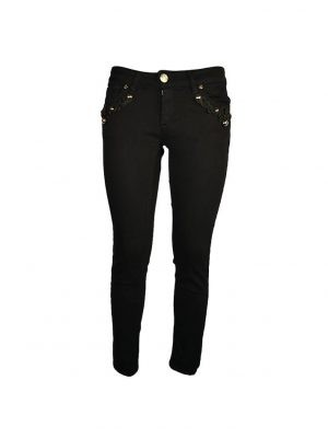 Джинсы Eureka черные на карманах узор из шнурка с клепками