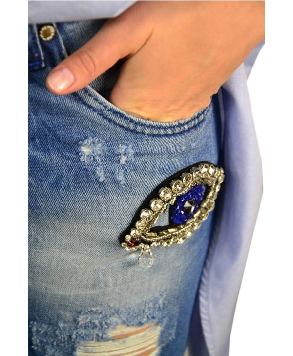 Джинсы Tenax синие с нашивками из камней и бисера