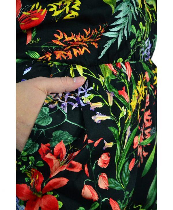 Комбенизон Paolo Casalini черный с цветочным принтом