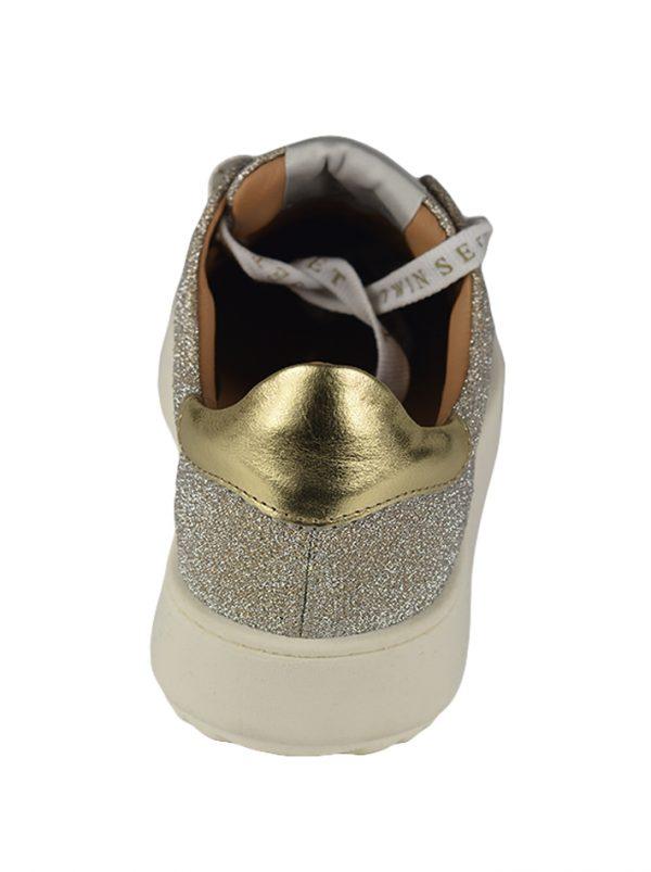 Кроссовки Twin-Set золотые с люрексом