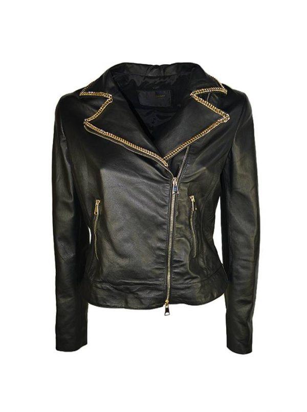 Куртка Babylon W Les Femmes черная кожаная с цепями