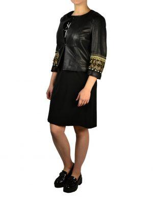 Куртка Gil Santucci черная кожаная с вышивкой и клёпками