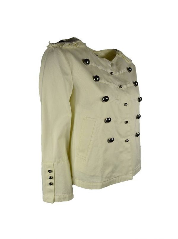 Пиджак-мундир Twin-Set молочного цвета с карманами