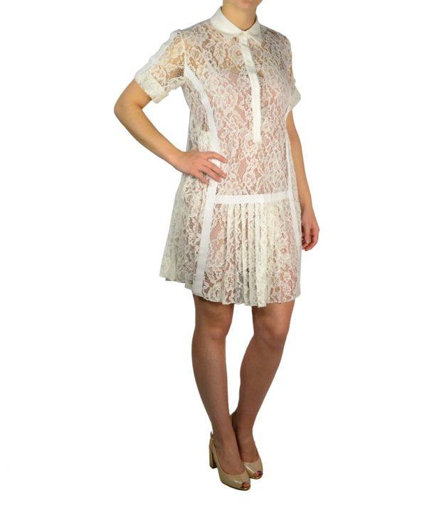 Платье Babylon белое гипюровое с бежевым подкладом