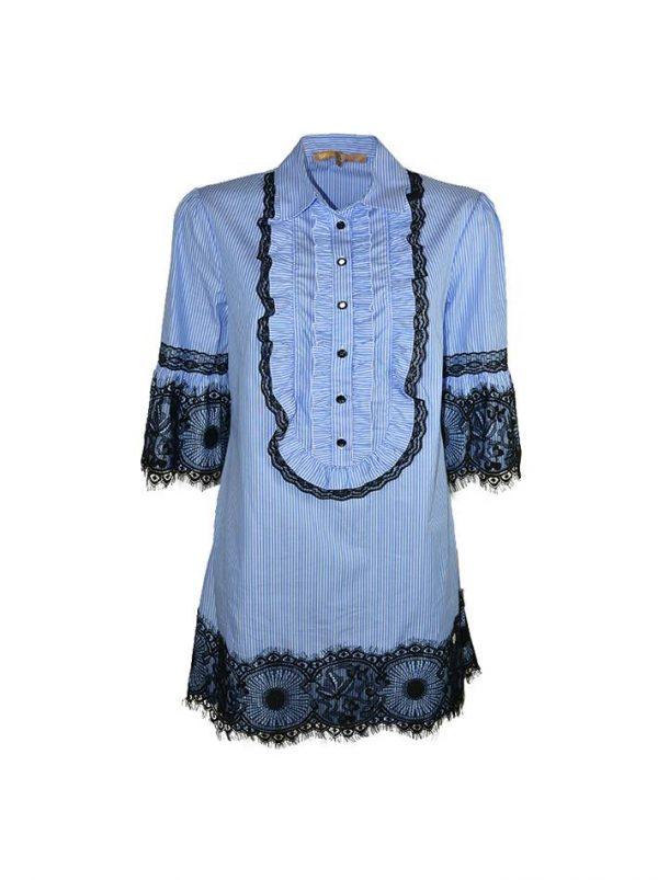 Платье Babylon голубое в белую полоску с черным гипюром