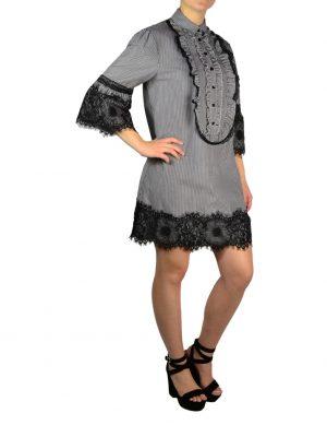 Платье Babylon серое в белую полоску с черным гипюром