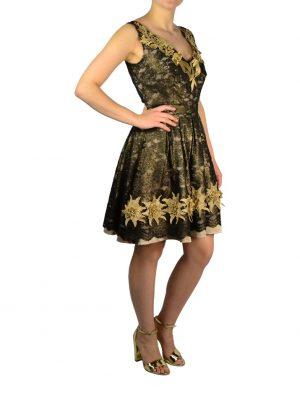 Платье Babylon W Les Femmes черный гипюр с золотой вышивкой