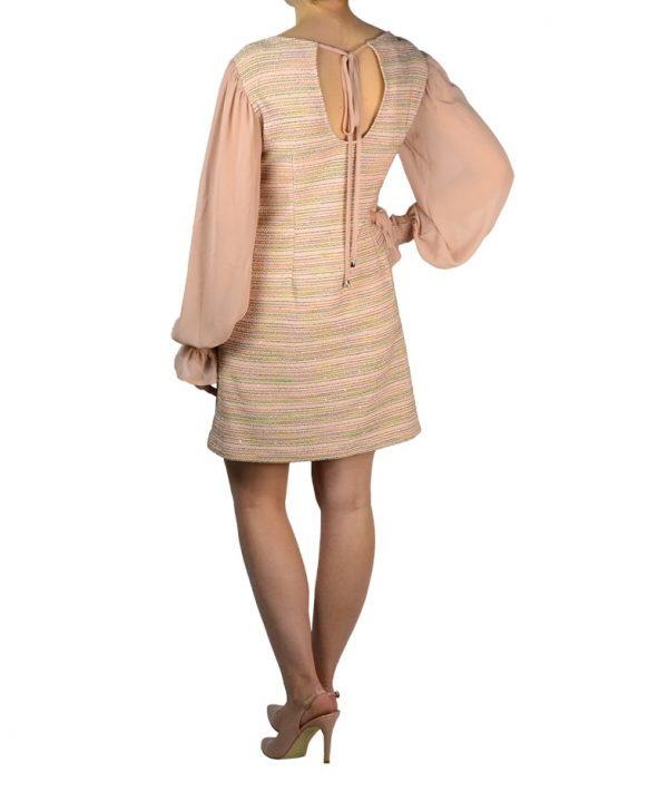 Платье Gil Santucci пудрового цвета твидовое с вышивкой