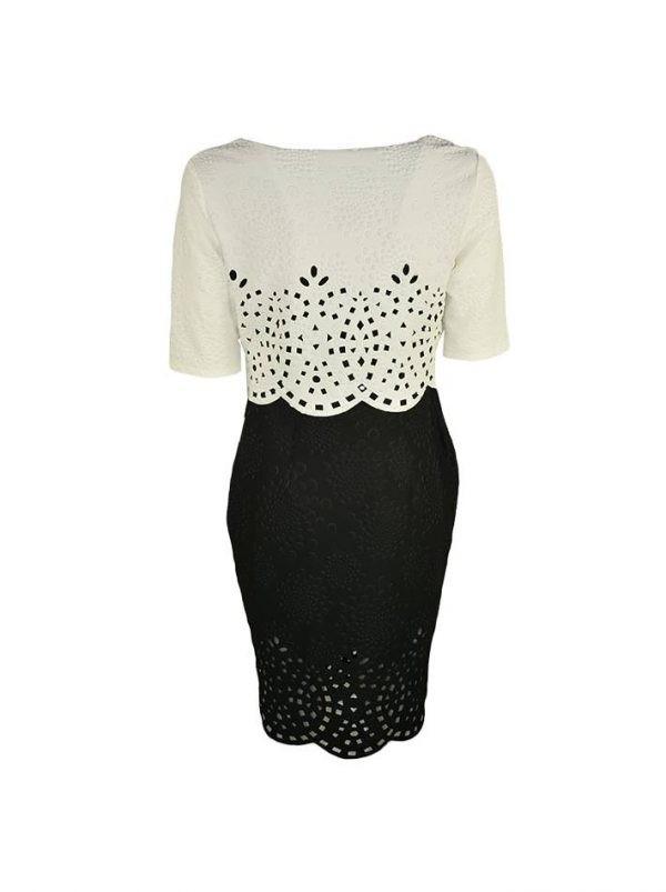 Платье Le Group черно-белое с резным узором