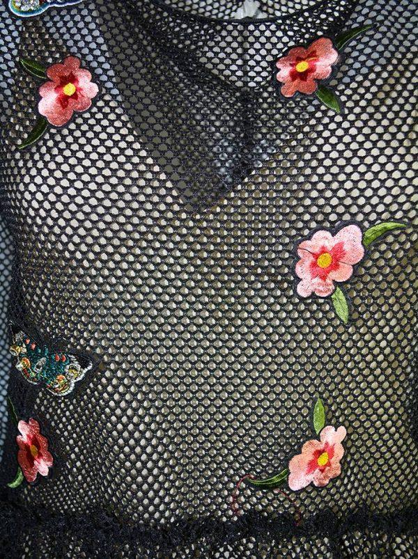 Платье Tenax черная сетка с вышивкой и камнями и бежевым подкладом