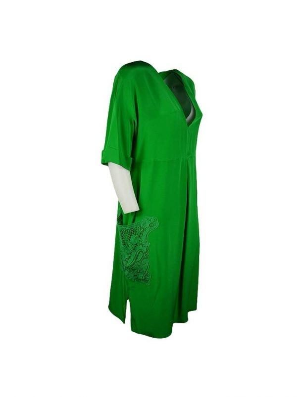 Платье Twin-Set зеленое с карманами из гипюра
