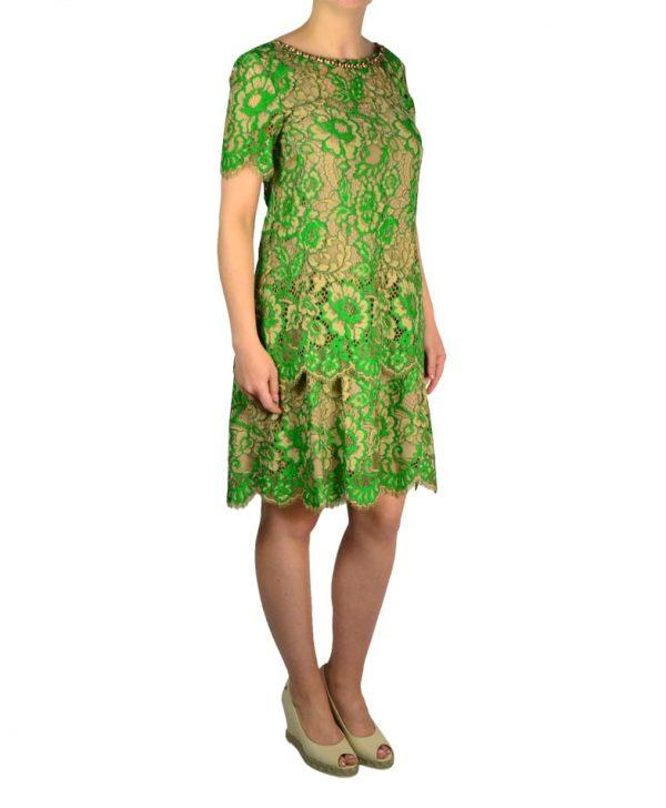 Платье Twin-Set зелено-бежевый гипюр