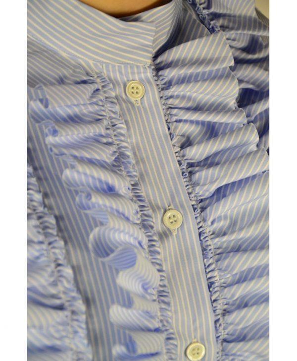 Рубашка Paolo Casalini голубая в белую полоску с рюшами