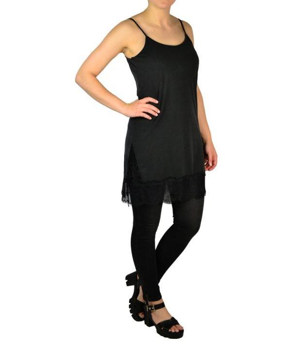 Сорочка Paolo Casalini черная трикотажная с гипюром