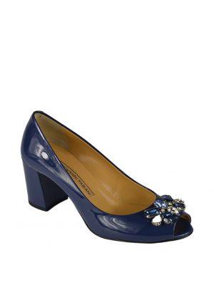 Туфли Giovanni Fabiani темно-синие с открытым носом и камнями