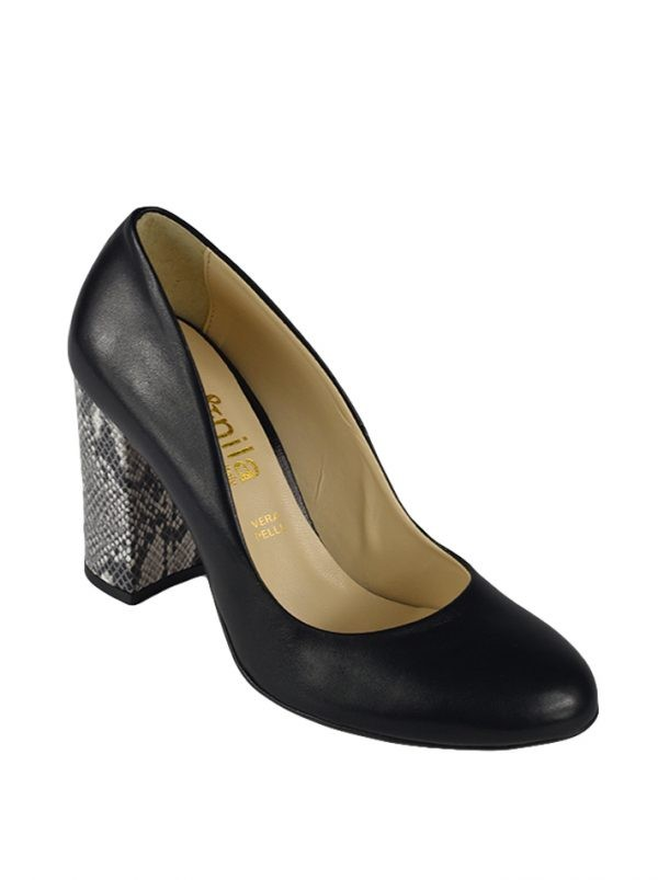 Туфли Nila&Nila черные с имитацией кожи питона