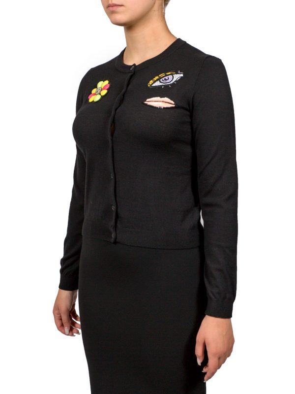 Кофта Boutique Moschino черная на пуговицах с нашивками