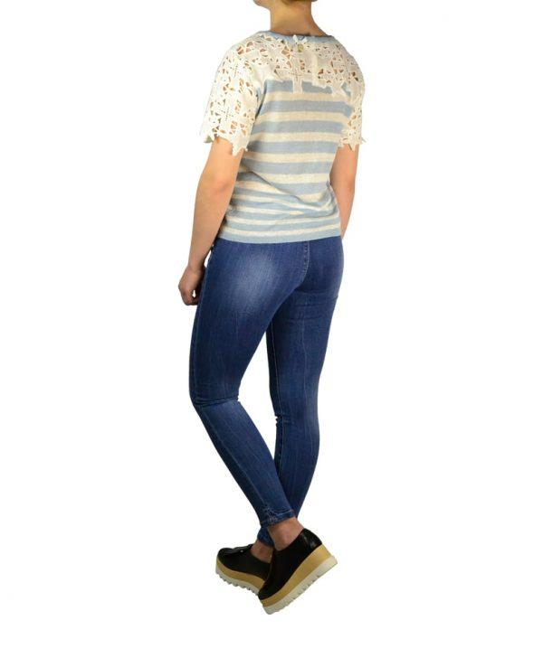 Кофта Silvian Heach бело-голубая в полоску с вышивкой