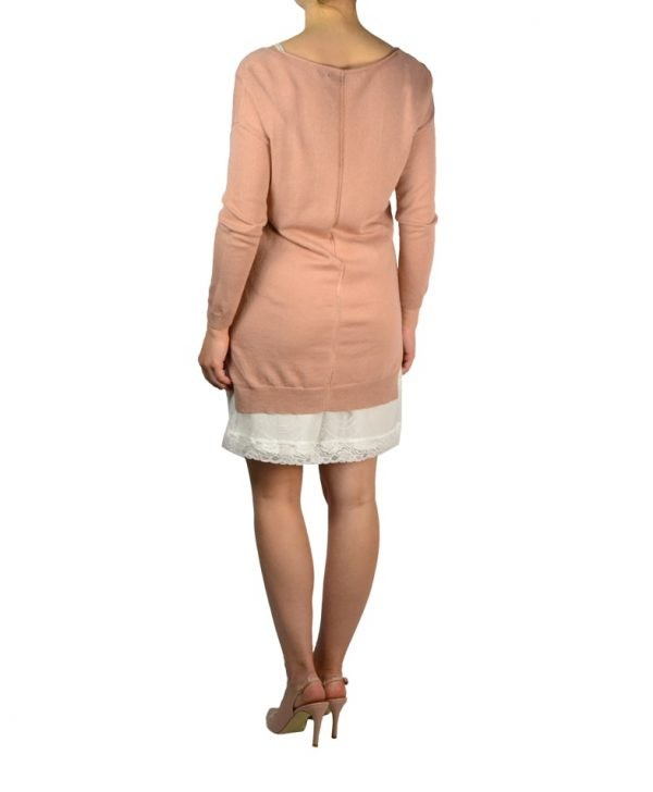 Платье-двойка Silvian Heach пудрового цвета вязаное с гипюровым подкладом