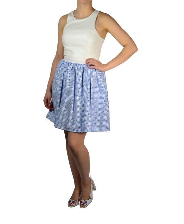Платье Silvian Heach белое кожаное с голубой вышивкой